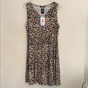 Premise L leopard swing dress, 95%rayon/5%spandex